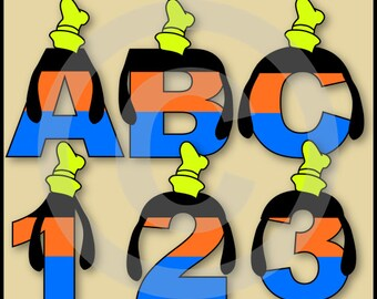 Goofy Alphabet Letters & Numbers Clip Art Graphics