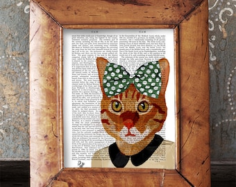 Ginger Cat Print & Green Bow - ginger cat print cat poster cat decor cat illustration funny cat picture cat gift cat lover cat art wall art