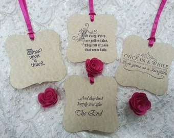100 WISH TREE TAGS  Fairytale Styles Adorned With A Fuchsia Pink Ribbon