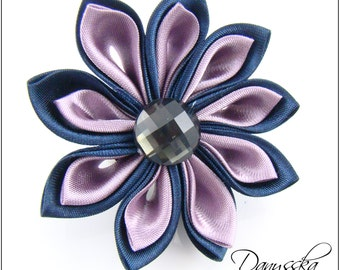 Blue and Pink Kanzashi Flower - Brooch/Hair Clip