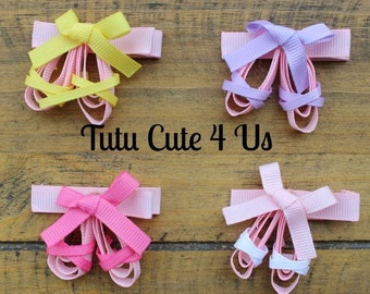 Pink Ballerina Slippers Ribbon Sculpture Hair Clip, Ballet Shoes Hair Clip, Dance Hair Clip, Ballerina Slippers Hair Clip