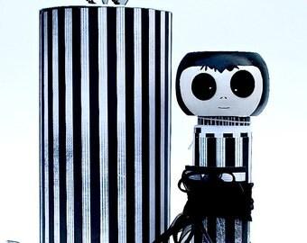 Striped Kokeshi doll