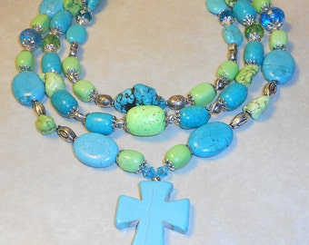 Blue and Green Turquoise Howlite and Crystal Multi-Strand Cross Statement Necklace ~ Western Bling ~ Cowgirl ~ Western Cowgirl ~ Chunky