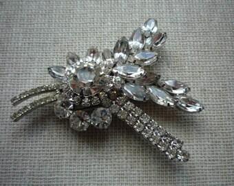 Vintage Juliana DeLizza & Elster Clear Rhinestone Spray Silver Tone Brooch Pin Wedding Bridal