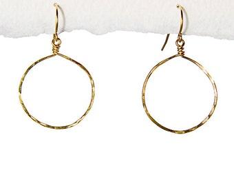 Jewelry. Hand-Hammered Hoop Earrings, 14k Gold Fill. Jennifer Cheri Jewelry