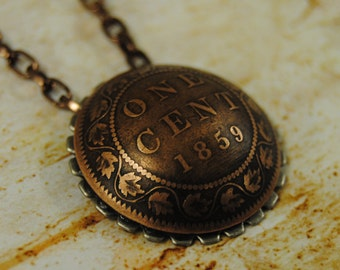 """Crisp Domed 1859 Canadian Large Cent pendant on an 18"""" chain"""