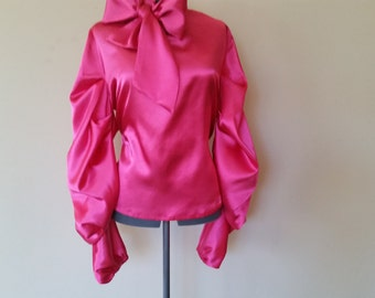 Elaborate Satin Bow Blouse-Designer Blouse- Custom-Made- You Choose The Color