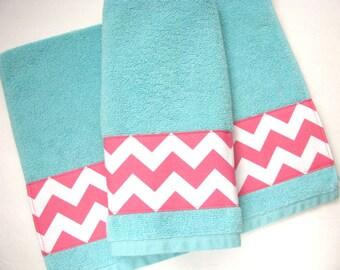 Pink Chevron And Aqua Towel , Towels, Hand Towel, Aqua Bathroom, Pink  Chevron