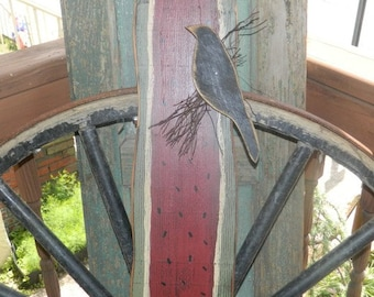 Summer Watermelon Crow Primitive Sign
