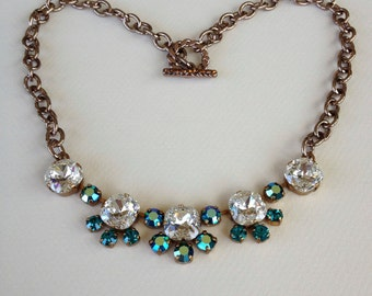 Teal Rhinestone Necklace, weddings, jewelry, necklace, rustic wedding, teal, bridesmaid, gifts, mother of the bride, bridal, women