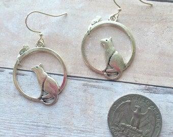 Cat & mouse earrings