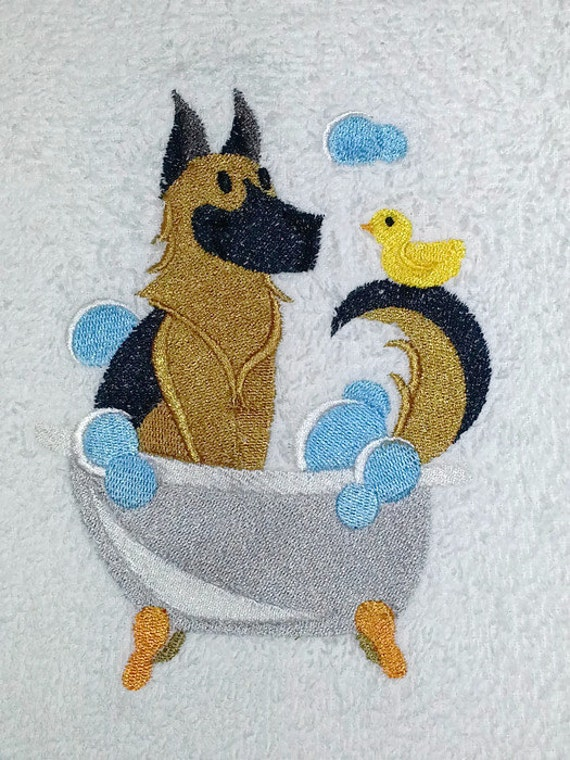 German shepherd towel free shipping hand by twistedstitches13 for German made bathroom accessories