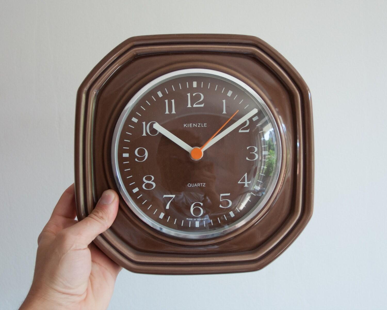 Brown Kitchen Clock Ceramic Quartz Wall Clock Vintage Retro