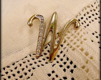 """Vintage Rhinestone Brooch Initial """"W"""""""
