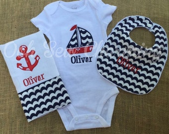 Nautical Onesie, Bib and Burp Cloth Set