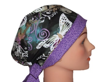 Scrub Hat Surgical Scrub Cap Chef Nurse Dr Chemo Hat Flirty Front Fold Pixie  Purple Butterflies Lilac Teal 2nd Item Ships FREE