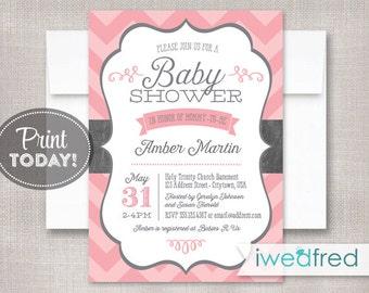 Baby Shower Invitation, Pink & Gray Chevron Baby Shower, DIY Printable Baby Shower Invitation - #BA001