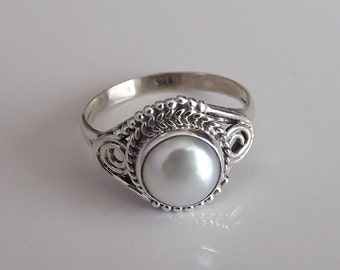 Pearl Ring Solid 925 Sterling Silver Pure Handmade Size: Variable (5, 6, 7, 8, 9, 10) Exclusive Budget Ring XL Size available