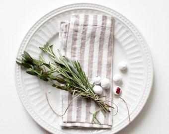 Set of 2 Natural Stripe Stone Washed Linen Napkins