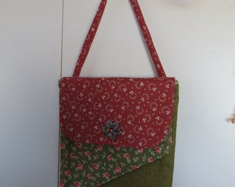 Double flap hip purse- rose and green