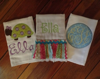 Burp Cloths/Monogram Burp Cloths/Applique Burp Cloths/Baby Gift/Baby Girl Burp Cloths
