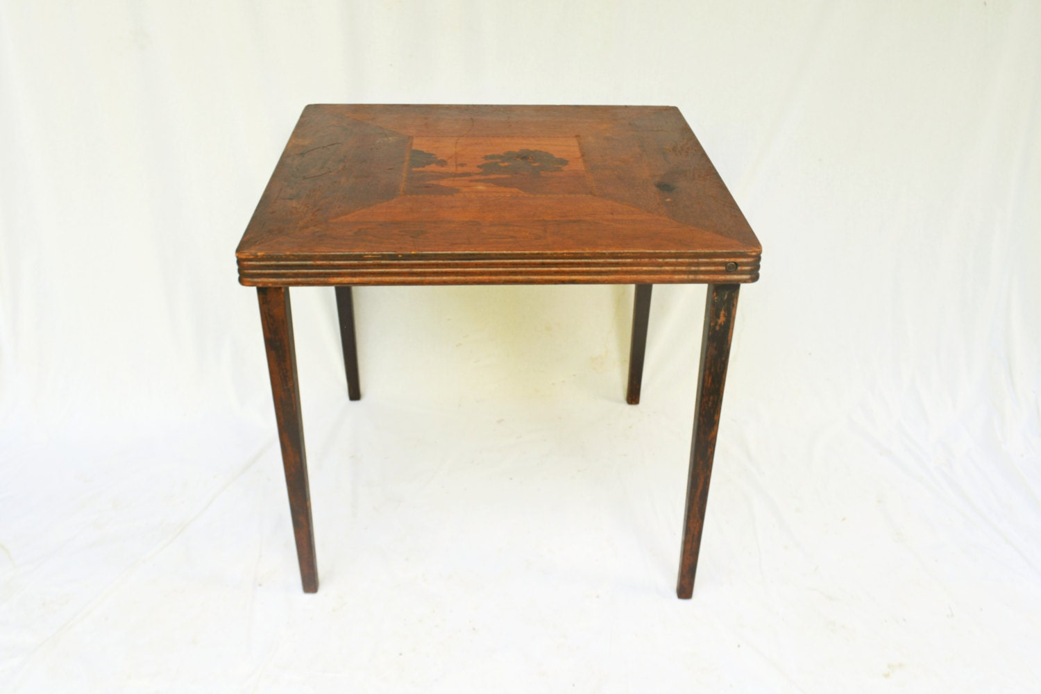 Vintage Wooden Folding Table Inlaid Wood Table Vintage Card