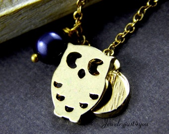 Gold Owl Charm Necklace