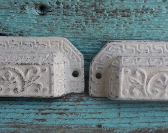 Rustic Antique White Drawer Pull Furniture Hardware Shabby Chic Cottage Decor