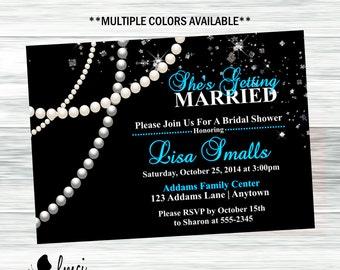 Bridal Shower Invitation, Diamonds and Pearls - Digital File
