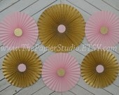 Pink and Glitter Gold , Set of 6 (Six) Paper Rosettes