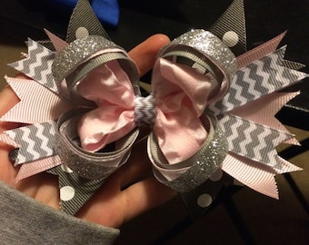 Gray and Pink Hair Bow
