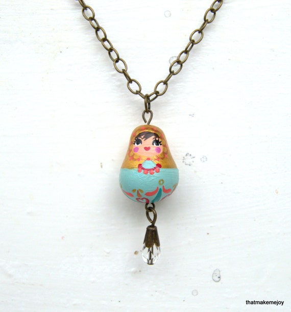 ... Nesting Doll Companion Jewelry Necklace Pendant Small Gold Blue Charm