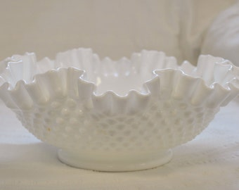 Vintage Large Fenton Hobnail Milk Glass Ruffled Edge Bowl