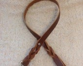 "42"" x 3/4"" Brown braided leather leash"