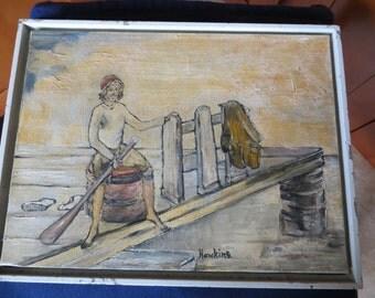 Antique Folk Art Fisherman Painting