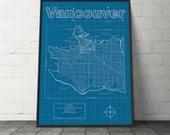 Vancouver Map / Original Artwork / Vancouver Blueprint / Wall Art / Gift for Him / Street Map / British Columbia Map / Graduation Gift