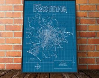 Rome Map / Original Artwork / Rome Blueprint / Wall Art / Gift for Him / Street Map / Italy Map / Graduation Gift