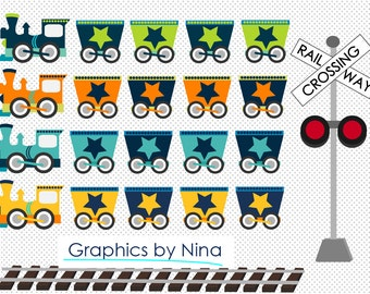 INSTANT DOWLOAD    Train clipart   Scrapbook for Personal and Commercial Use
