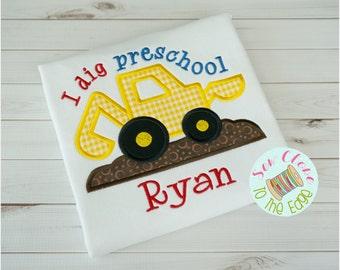 Boys Back To School PreSchool T-Shirt - Personalized Pre-School - Applique Shirt - Toddler - School Embroidered Shirt - Dig Kindergarten