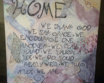 "Canvas ""In our home"" mixed media picture"