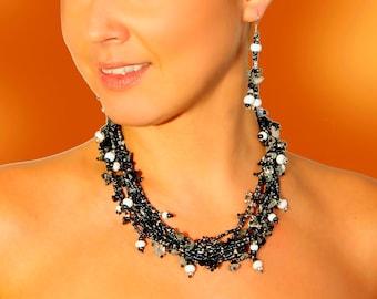 Glass Bead Necklace (Black/White)- Guatemala (003N)