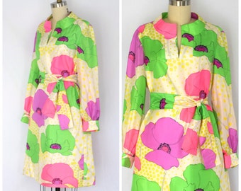 Pop Print BH Wragge Dress/ 70s Acid Floral Patterned Dress/ Womens Size Medium