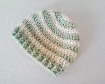CLEARANCE! RTS 0 to 3 Months Baby Striped Beanie Hat - Light Green, Cream