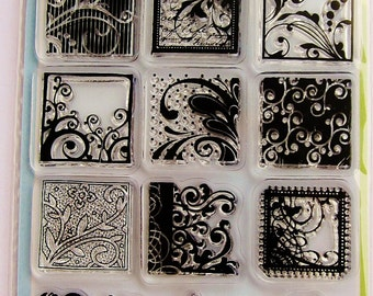 FLOURISHES Clear Acrylic Stamp Set by Inkadinkado Stamps with Flourish Blocks