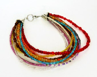 multi strand seed bead bracelet, colourful bracelet