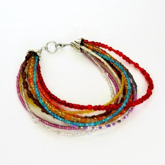 multi strand seed bead bracelet colourful bracelet