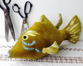 Fishing pillows etsy for Fish shaped pillow