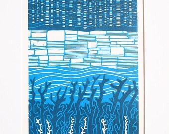 River Kelvin Lino Print Lino Cut