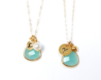 Mint Blue Initial Bridesmaids Necklace Mint Bridesmaids Gift Hand stamped Personalized Initial Necklace Mint Necklace Turquoise Necklace