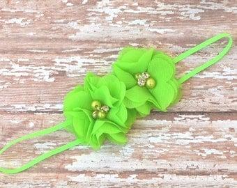 Lime Green Flower Headband, Flower Girl Headband, Newborn Headband, Wedding Headband, Baby Girl Headband, Wedding Accessory, Green Headband